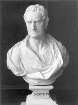 Bust of Newton in Wren Library, by P. Gaskell